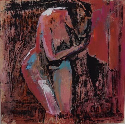 "Femme I, 10""x10"", wood panel"